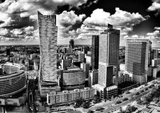Warsaw architecture. Artistic look in black and white. Royalty Free Stock Photo
