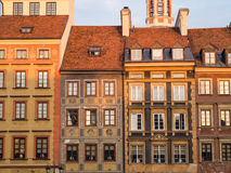 Warsaw. Architecture on the Warsaw's Old Town Market Place on a late summer afternoon Stock Image