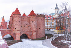 Warsaw Barbican fortress in winter. The capital city of Poland. Stock Image