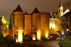 Warsaw Barbican, Poland. Warsaw Barbican at night, Poland royalty free stock photography