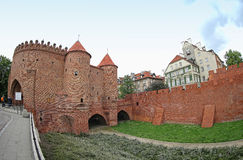 Warsaw Barbican, semicircular fortified outpost in Warsaw city, Stock Photography