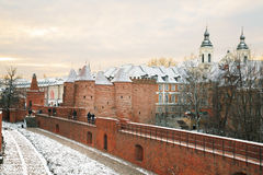 Warsaw Barbican in Warsaw in winter Royalty Free Stock Photos