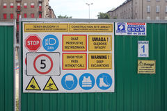 Warsaw. The billboard with danger alerts Royalty Free Stock Image
