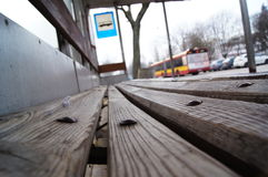Warsaw bus stop Royalty Free Stock Images