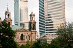 Warsaw business Center. And church, Poland Royalty Free Stock Images
