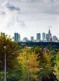 Warsaw, capital of Poland. Capital city of Poland  in clouds - Warsaw downtown, distant view, Palace of Culture and Science Stock Photo