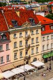 Warsaw, capital of Poland houses aerial view. Warsaw, Poland - June 24, 2019: Colorful houses street view in Old Town of polish capital aerial view royalty free stock photo