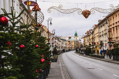 Warsaw Christmas Decorations Royalty Free Stock Photography