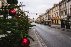 Warsaw Christmas Decorations Royalty Free Stock Photo