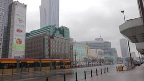 Warsaw city business district, January 2018. Poland. Rainy and cloudy morning stock video
