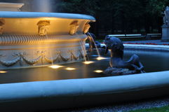 Warsaw city center fountain Royalty Free Stock Photo