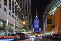 Warsaw city center at night Stock Photography