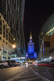 Warsaw city center at night Royalty Free Stock Photography