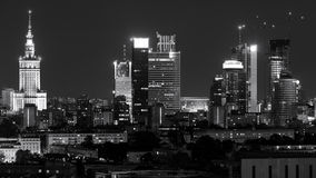 Warsaw city center at night Royalty Free Stock Images