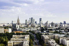 Warsaw city center. Panorama of Warsaw city center at sunny afternoon royalty free stock photos