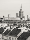 Warsaw. City center seen from a viewing terrace in the Old Town. Modern architecture and the Palace of Science and Culture in the background, traditional houses Stock Image
