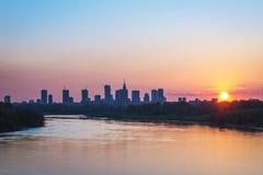 Warsaw city center during sundown Stock Images
