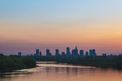 Warsaw city center during sundown Royalty Free Stock Images