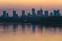 Warsaw city center during sundown Royalty Free Stock Photography