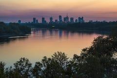 Warsaw city center during sundown Stock Photo