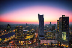 Warsaw city center at sunset. Stock Photography