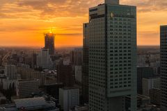 Warsaw city center at sunset Royalty Free Stock Image