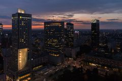 Warsaw city center at sunset Royalty Free Stock Photo