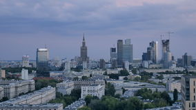 Warsaw city center at sunset stock video