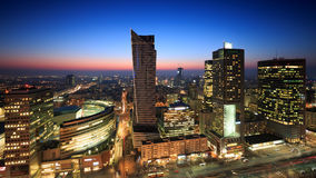 Warsaw city center at sunset Royalty Free Stock Photography