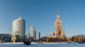 Warsaw city center winter panorama Stock Photo