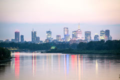 Warsaw city center and Wisla river, Poland Royalty Free Stock Photos