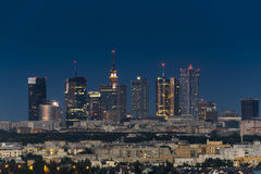 Warsaw city downtown at night Royalty Free Stock Photos