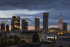 Warsaw city downtown at night Royalty Free Stock Photo