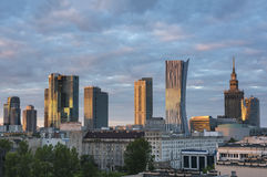 Warsaw city downtown view during sunse Stock Photos