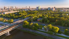 Warsaw city drone aerial view in summer sunset Stock Photos