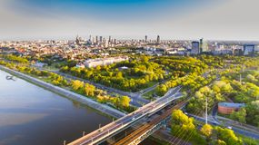 Warsaw city drone aerial view in summer sunset Royalty Free Stock Images
