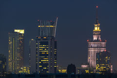 Warsaw city during foggy night stock photo