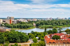 Warsaw City Green Cityscape. Green cityscape along Vistula River in city of Warsaw in Poland, view to Praga district royalty free stock photography