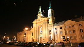 Warsaw city hall in night, Poland stock video footage