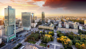 Warsaw city with modern skyscraper at sunset, Poland Stock Images