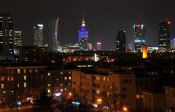 Warsaw city night life Royalty Free Stock Image