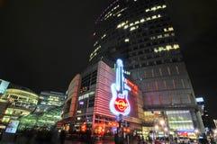 Warsaw city night life stock photo