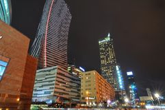 Warsaw city night life stock image