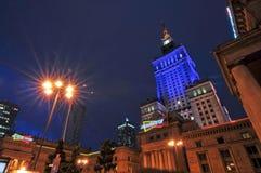Warsaw city night life Stock Photography
