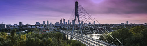 Warsaw city panorama at dusk time. Warsaw city panorama with bridge at dusk time Royalty Free Stock Photography