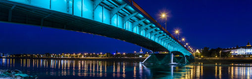 Warsaw city panorama at night. Warsaw city panorama with bridge at night royalty free stock photos