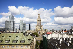 Warsaw city, Poland. View on the Warsaw downtown at sunny day.Palace Of Culture And Science stock photo
