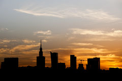Warsaw City Silhouette at Sunset in Poland Royalty Free Stock Photo