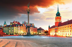 Warsaw city at sunrise, Poland Stock Images