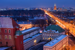 Warsaw Cityscape by Night in Poland Stock Image